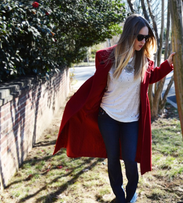 fashion blogger red coat