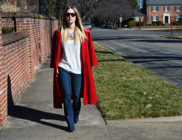 red vintage coat outfit post
